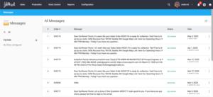 YoPrint Message List Page