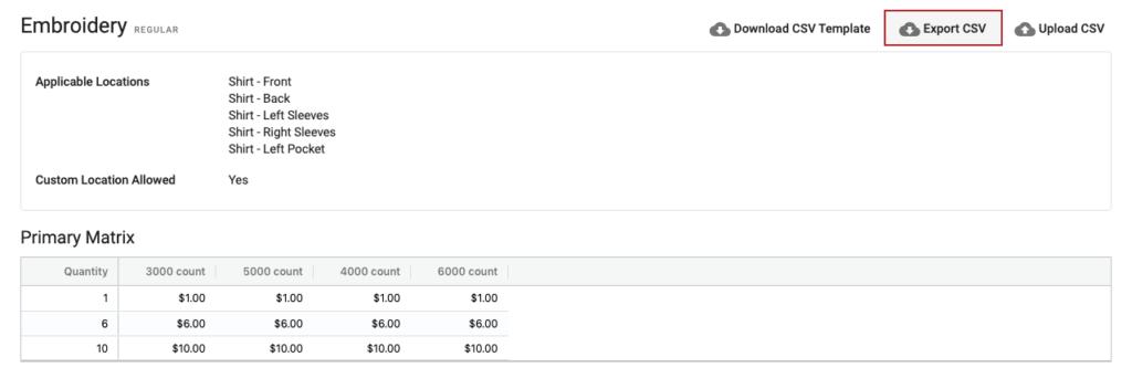 YoPrint Pricing Matrix Export CSV