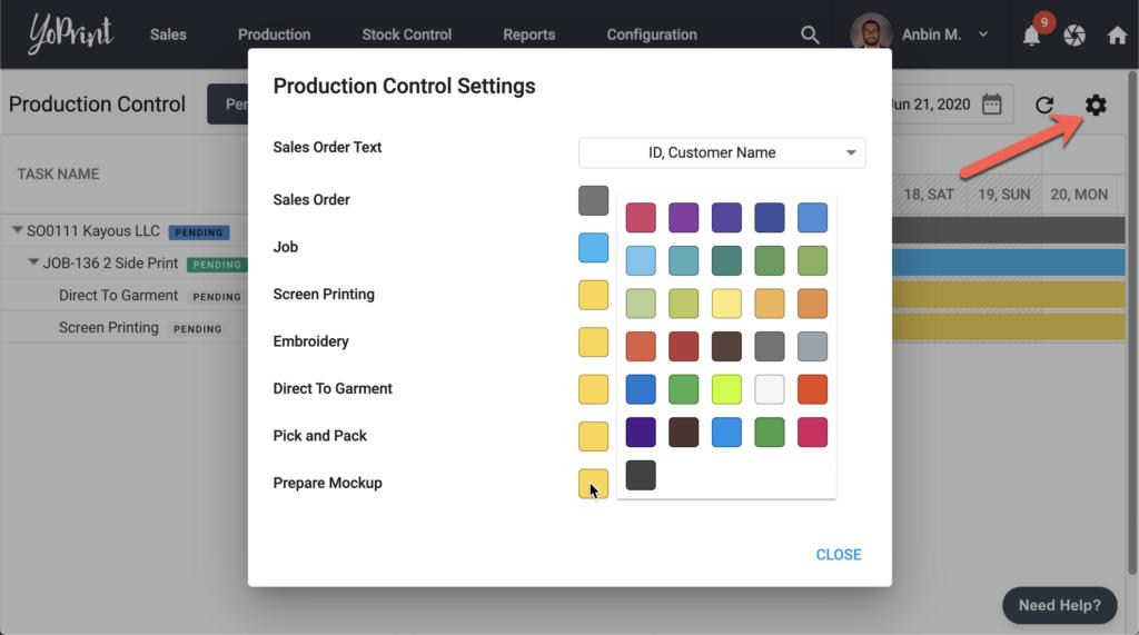 YoPrint Production Control Settings