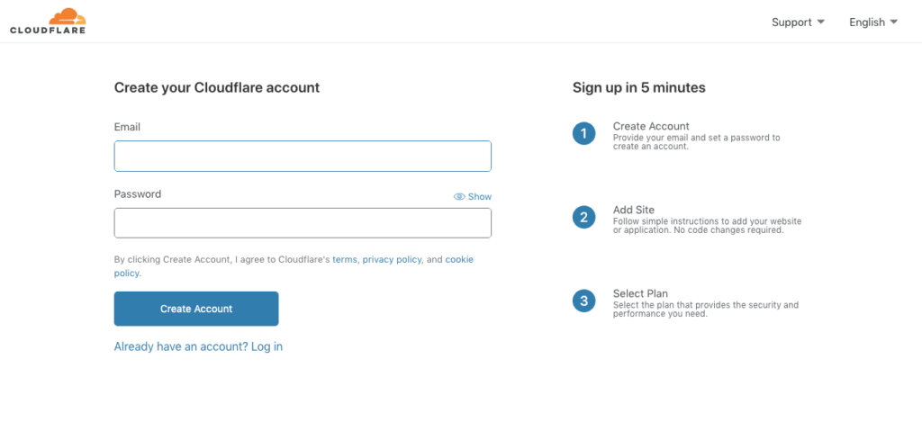 YoPrint Cloudflare Sign Up Page