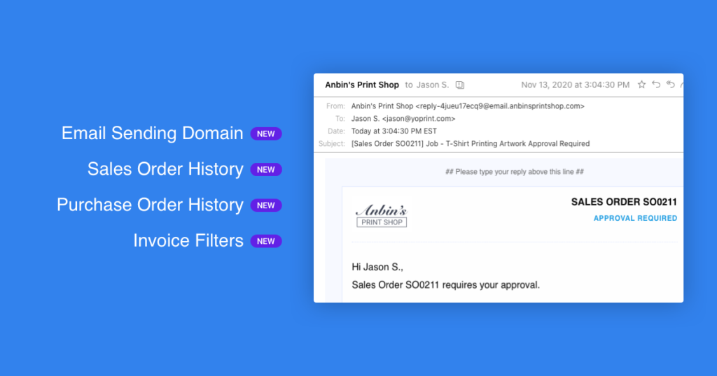 YoPrint Email Sending Domain Change History Notification History v1.1