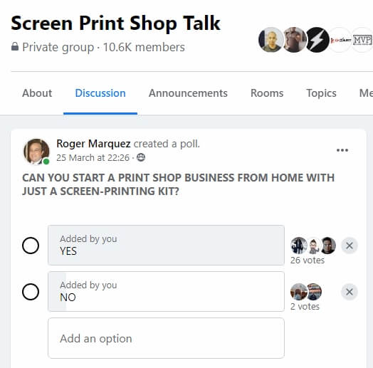 Screen Print Shop Talk Poll
